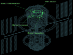 human division zero space station schematics displaying the parts of the  station that can be interacted with through the nanobotic application